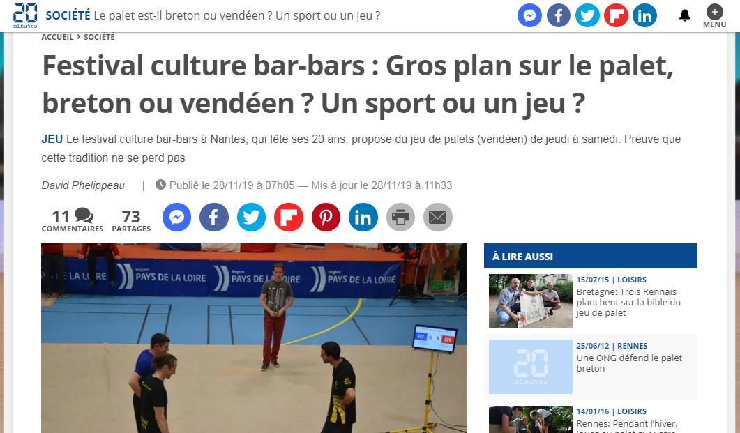 Gros plan sur le palet, breton ou vendéen ? Un sport ou un jeu ? (article 20 Minutes)